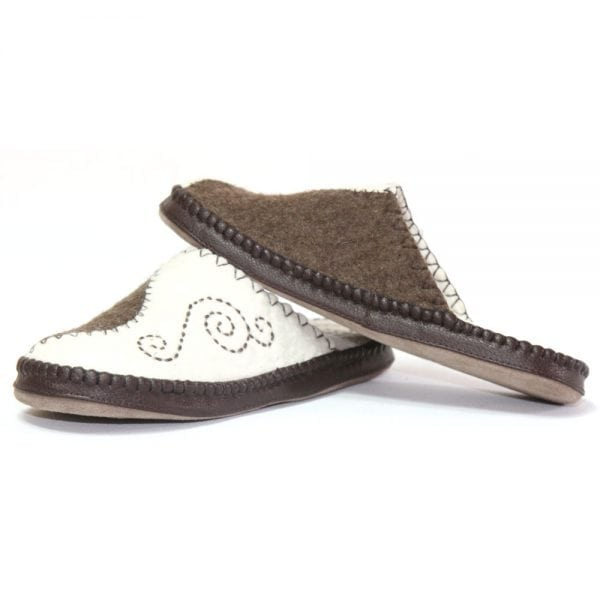 Left Side of White and Brown Slippers
