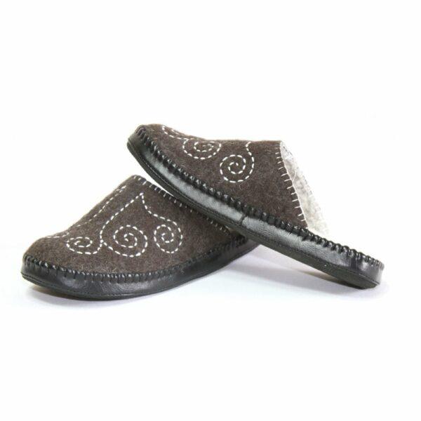 Left Side of Black Slippers