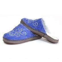 Mongolian Felt Blue Slippers