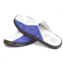 Mongolian Felt White and Blue Slippers
