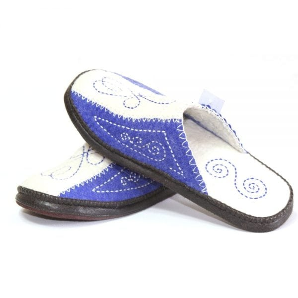 Left Side of White and Blue Slippers