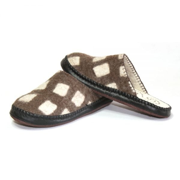 Left Side of Brown Slippers