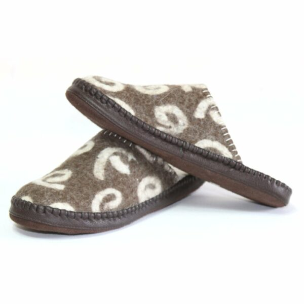 Left Side of Brown Brindle Slippers