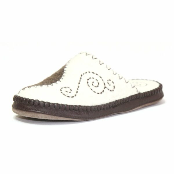 Side of White and Brown Slipper