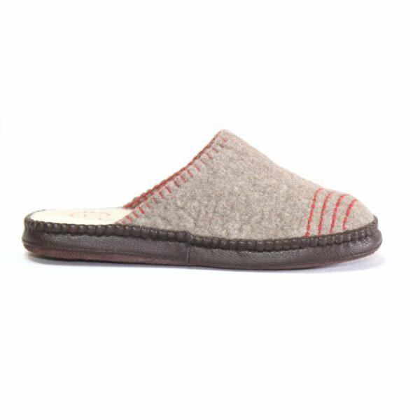 Right Side of Grey Striped Slipper
