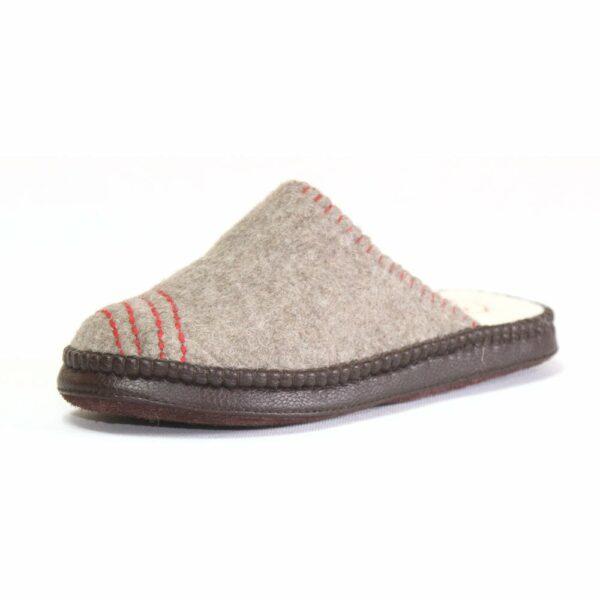 Side of Grey Striped Slipper
