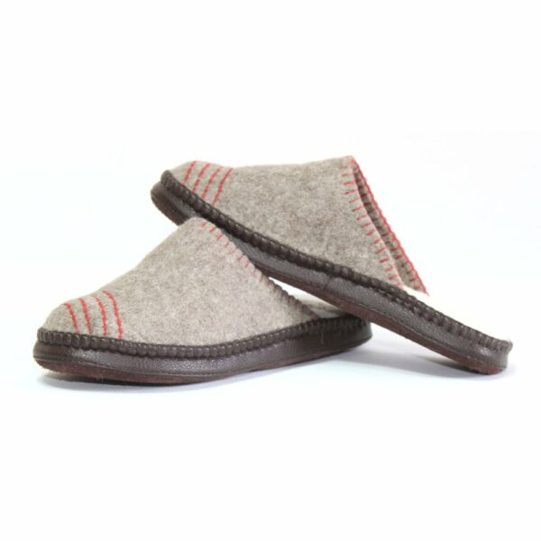 Left of Grey Striped Slippers