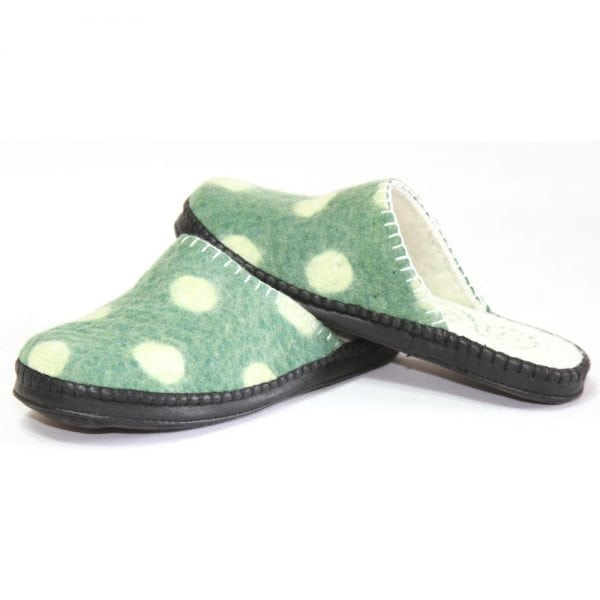 Left Side of Spotted Green Slippers