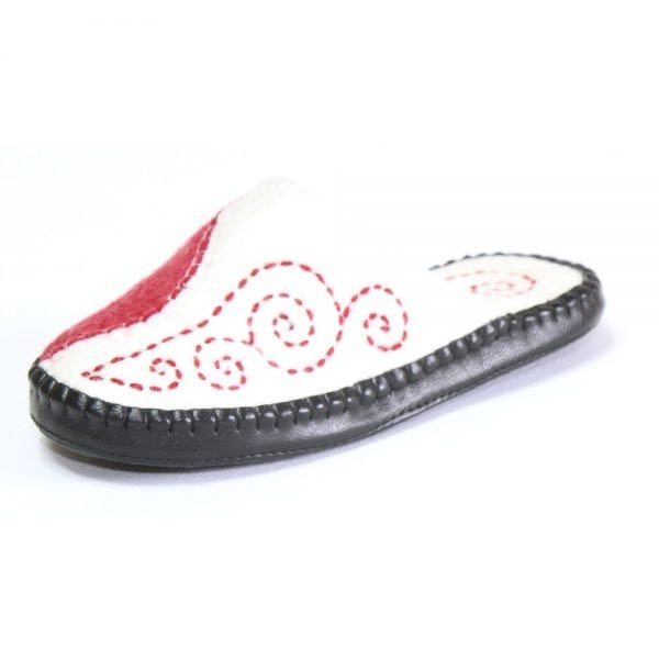 Right Side of Red and White Slipper