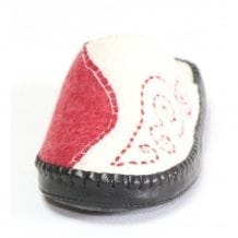 Front of Red and White Slipper