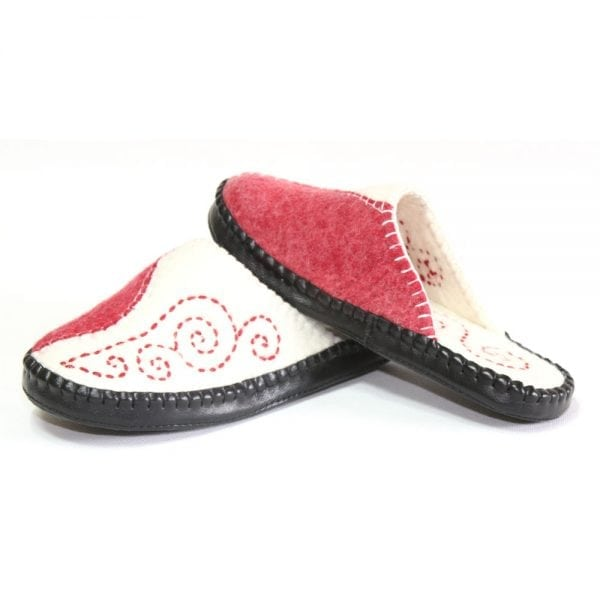 Left Side of Red and White Slippers