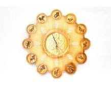 Wooden Clock with 12 Animal Pattern