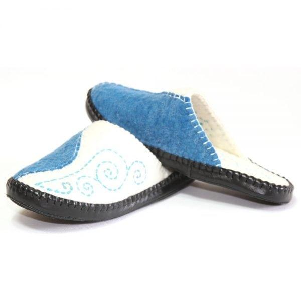 Left Side of Blue Slippers