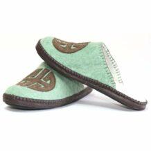Mongolian Felt Blue Green slippers