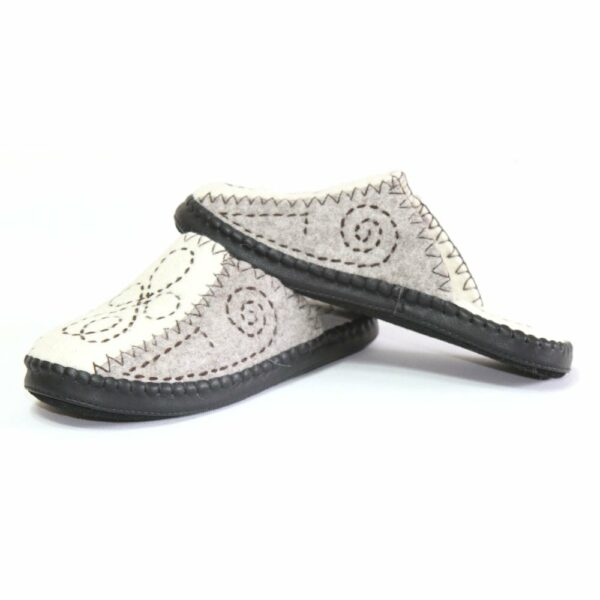 Left Side of Grey Slippers