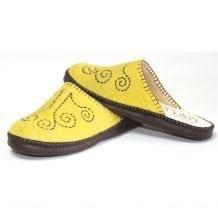 Mongolian Felt Yellow Slippers