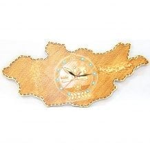 Wooden Wall Clock with Emblem of MOngolia