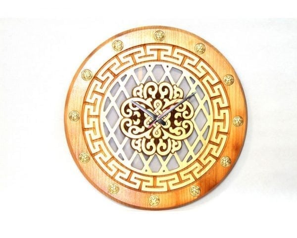 Wooden Clock with Ulzii Pattern