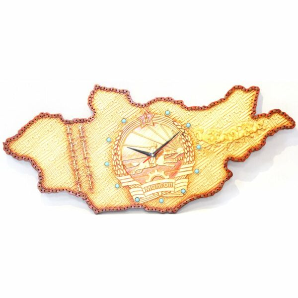 Wooden Clock with Emblem of Mongolia
