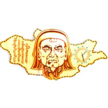 Wooden-Clock-with-Chinggis-Khaan