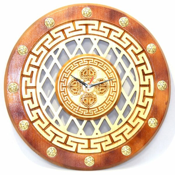 Wooden Clock with Hammer Pattern