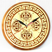 Wooden Clock with Natsagdorj Pattern