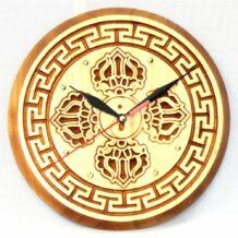 Wooden Clock with Natsagdorj Pattern