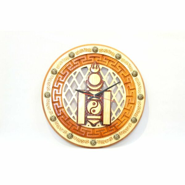 Wooden Wall Clock with Hammer Pattern