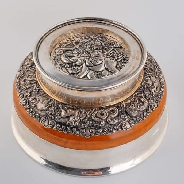 Silver Bowl with Elephant