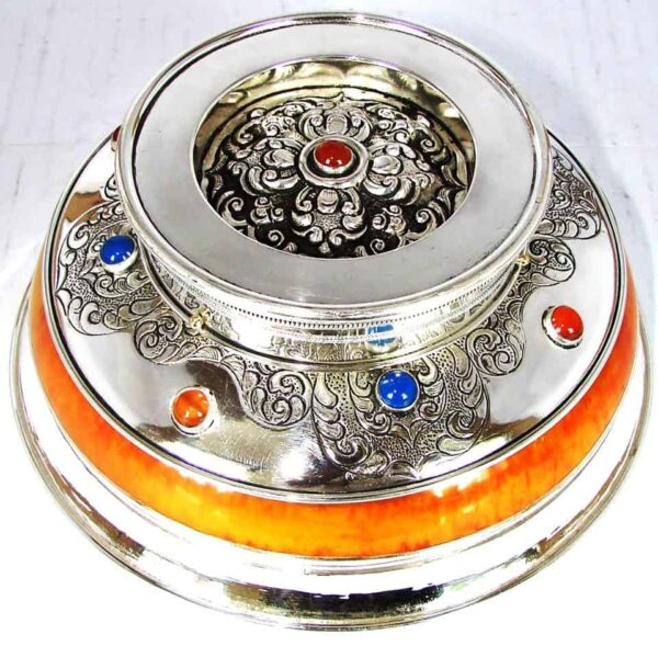 Silver Bowl with Azure Inlay