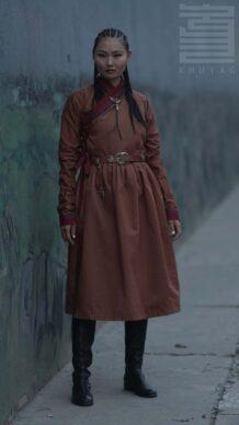 14th Century Mongolian Women's Brown Deel