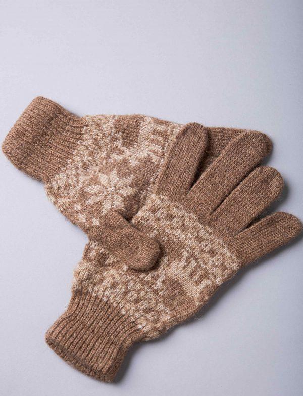 Brown Camel Woolen Adult Gloves