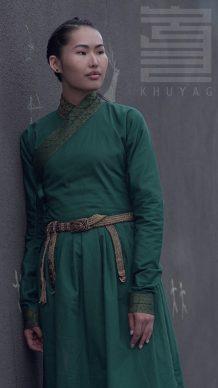 14th Century Mongolian Women's Green Deel