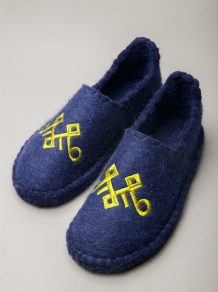Purple Grey Camel Woolen Slippers