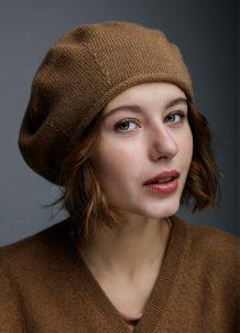 Brown Woolen Women's Beret Hat
