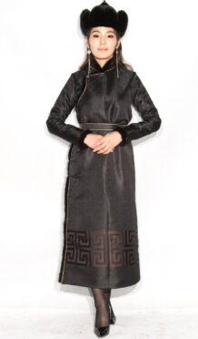 Black Women's Deel with Sable Fur