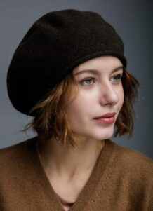Black Woolen Women's Beret Hat