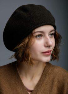 Black Woolen Women's Beret Hat