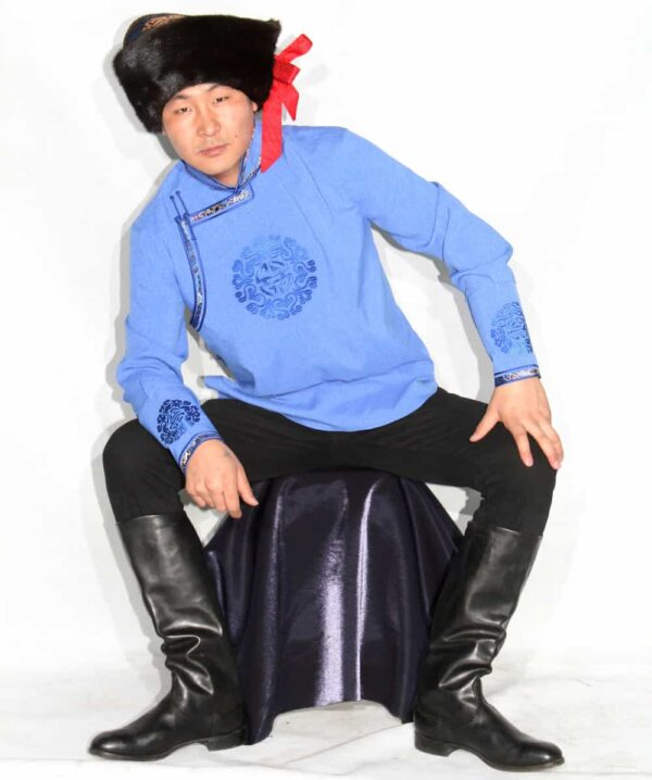 Blue Men Shirt with Sitting