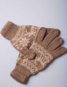 Brown Camel Woolen Adult's Gloves With Pattern