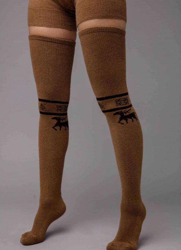Camel Woolen Stocking with Deer Pattern
