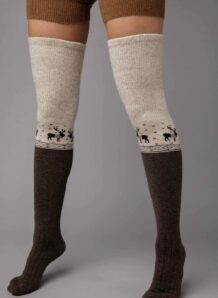 Brown Camel Woolen Stocking With Pattern