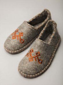 Brown Grey Camel Woolen Slippers