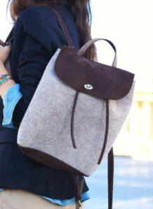 Brown Woolen Backpack
