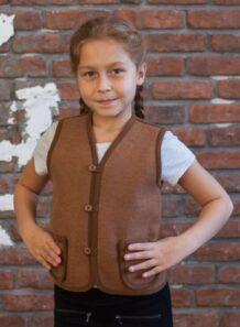 Brown Woolen Kid's Vest