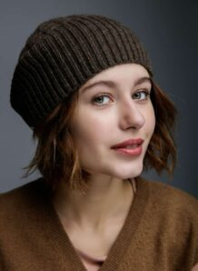Brown Woolen Women's Hat