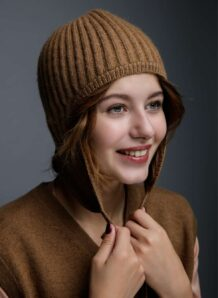 Brown Woolen Women's Hat