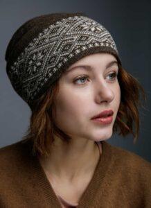 Brown Woolen Women's Hat With Pattern