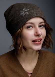 Brown Woolen Women's Hat With Snowflake