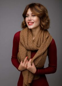 Brown Woolen Women's Scarf